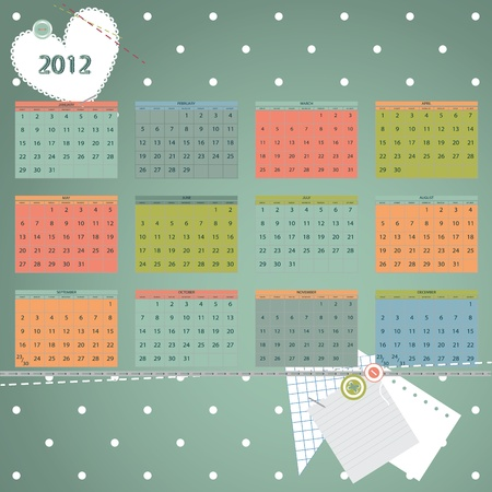 Calendar 2012 year. First day of week beginning on Sunday.  Scrapbook retro style vector illustration. Vector
