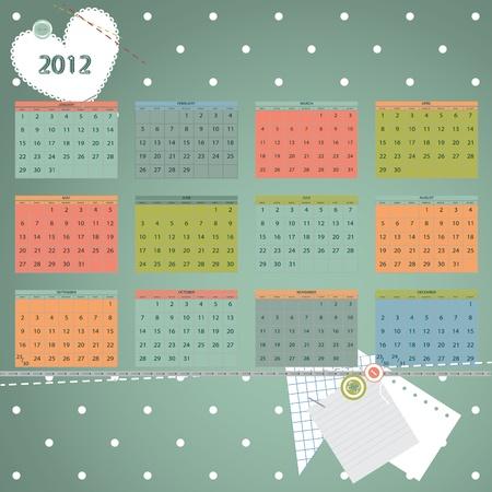 Calendar 2012 year. First day of week beginning on Sunday.  Scrapbook retro style vector illustration. Stock Vector - 10496572
