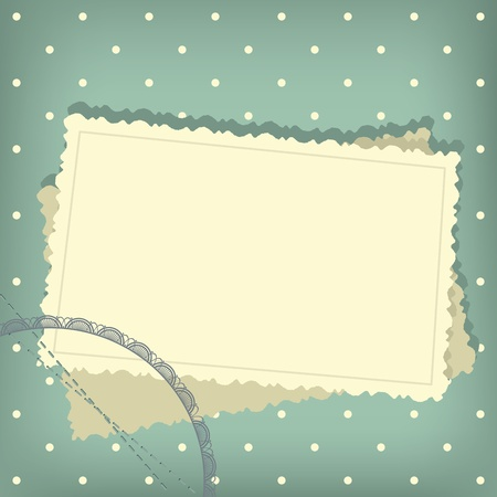 photo album page: Greeting scrap retro background with empty photo blank.