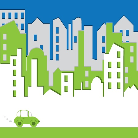 town idyll: Cityscape. Abstract building with car. Environtmant concept. Vector illustration.