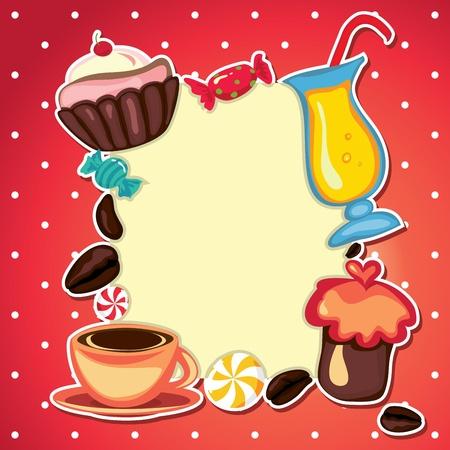 Coffee card cupcake and sweets. May be used as menu