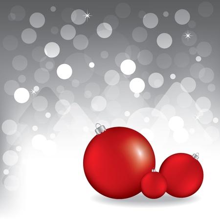 Biglietto di auguri di Natale con le palle rosse. Sfondo grigio Vettoriali