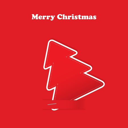 Christmas greeting card with tree on the red traditional background Vector