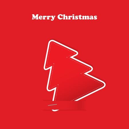 Kerst wenskaart met boom op de rode traditionele achtergrond Stock Illustratie