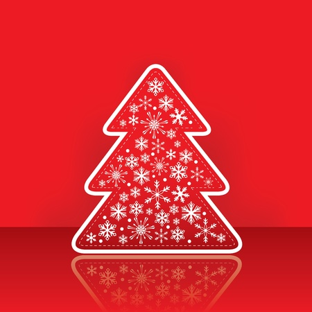 Christmas greeting card with tree with snowflake on the red traditional background Vector