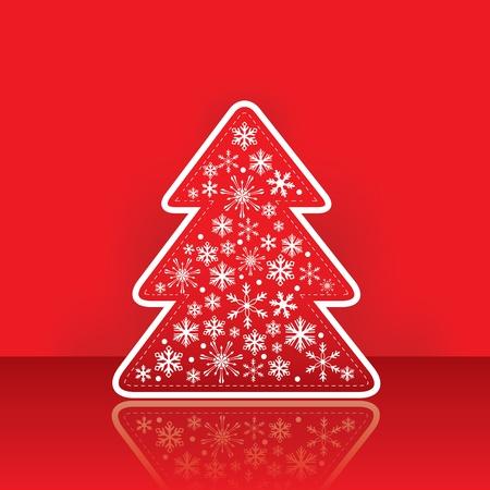 Christmas wenskaart met boom met sneeuwvlok op de traditionele rode achtergrond