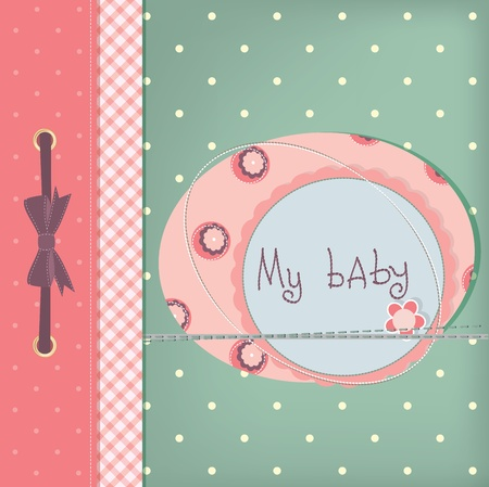 Baby girl greeting card. Frame and place for your text or picture Vector