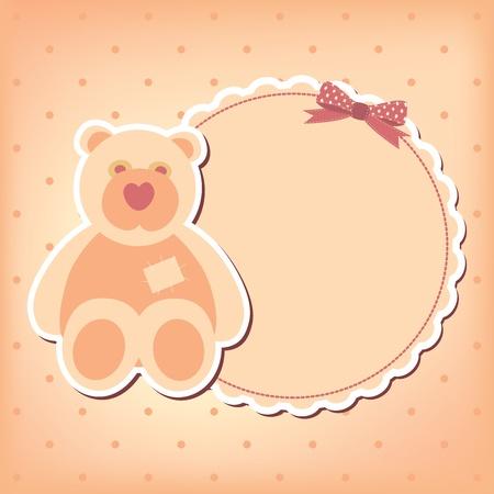 Baby girl arrival announcement  card. Stock Vector - 10668559