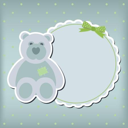 Baby boy arrival announcement card. frame Stock Vector - 10668558