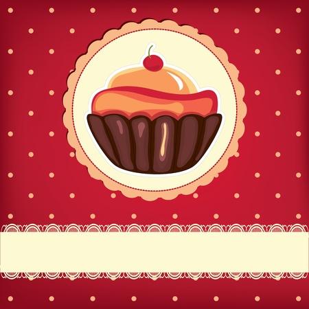 menu de postres: Linda Cupcake retro en marco. Fondo de topos.