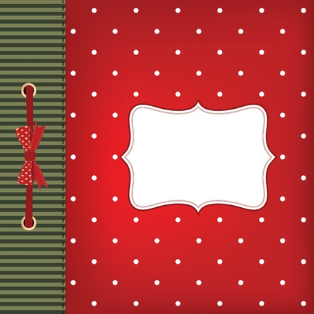 greeting christmas card with bow. Space for your text or picture. Vector