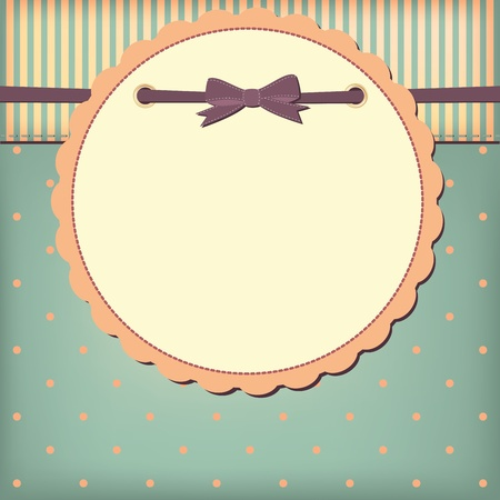 scrapbook frame:  greeting card with bow. Space for your text or picture. Illustration