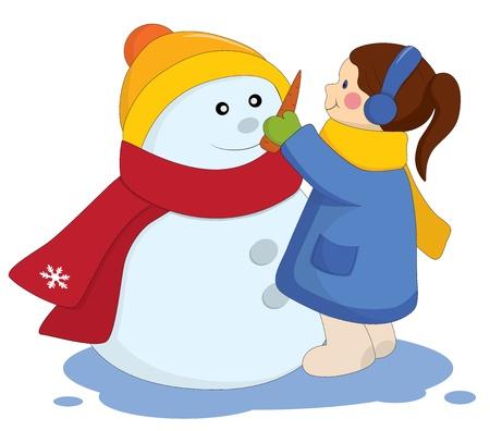 Little girl with snowman.  Vector