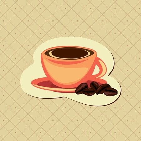 Coffee card with cup and beans Vector