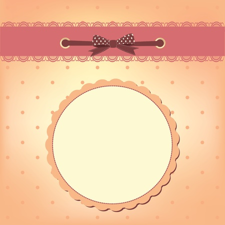 Vector greeting card with bow. Space for your text or picture. Vector