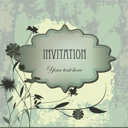 Vector vintage  invitation grunge card with flower. Space for your text or picture. Vector