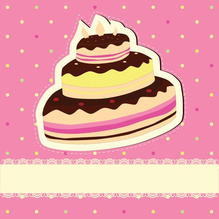 Cute birthday Cupcake . Polks dots background. Vector