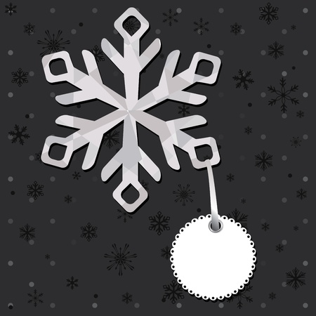 snowball: Christmas and New Year greeting card with snowflakes. Illustration