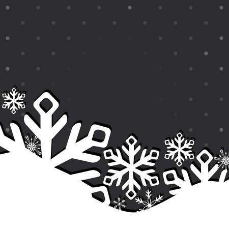snowflake border: Christmas and New Year greeting card with snowflakes.