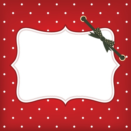 greeting christmas card with frame and bow. Space for your text or picture. Vector