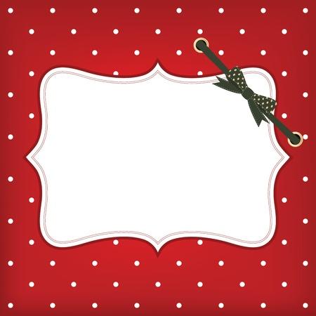 groet kerstkaart met frame en boog. Ruimte voor uw tekst of afbeelding. Stock Illustratie