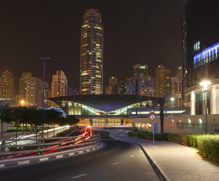 Dubai city at night time. UAE. Dubai Marina Stock Photo - 10836124