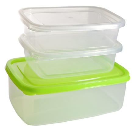 homeware: Plastic container on the white background