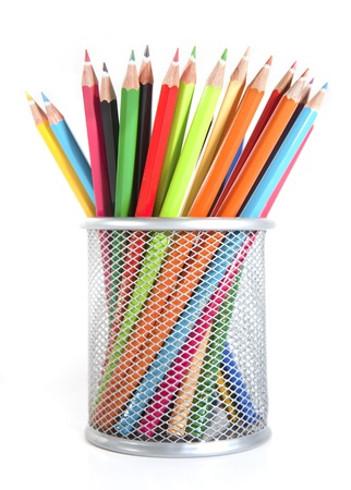 art supplies: Colour pencils isolated on the white background