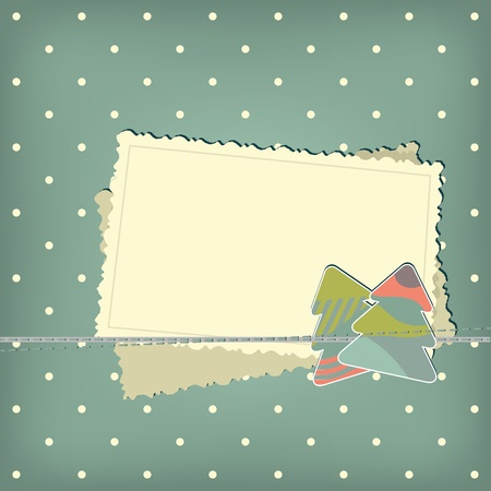 Greeting scrap retro background with empty photo blank and christmas tree Vector