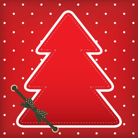 Christmas greeting card with tree on the red traditional background with polka dots Vector