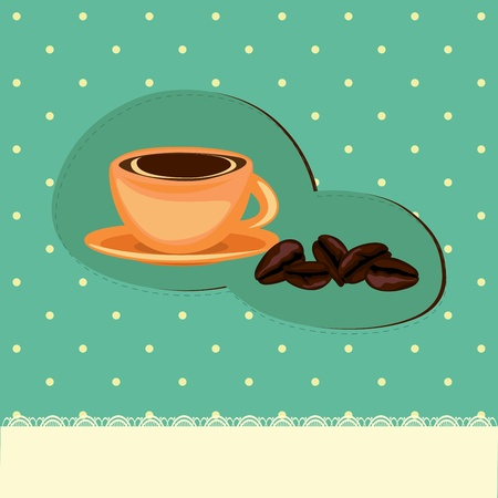 Coffee card with cup and beans on the retro background with polka dots Vector