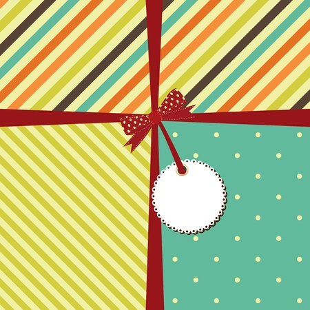 greeting retro background with stripes and polka dots. Illustration