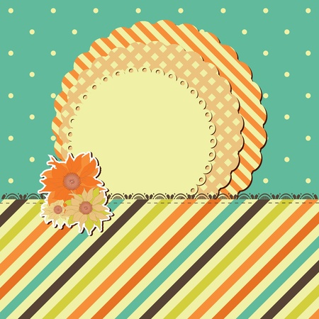 greeting retro card with frame and flower. Space for your text or picture. Vector