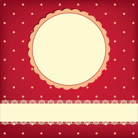 greeting retro background with frame and polka dots. Invitation card Vector