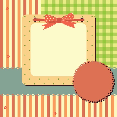 greeting frame  with stripes and polka dots.Space for your text or picture Vector