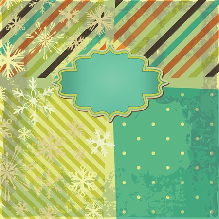 greeting retro background with snowflakes and frame. Invitation card Vector