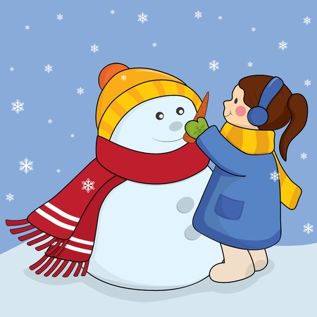 Little girl with snowman. Vector