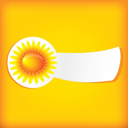 Vector sun label on the yellow background Vector