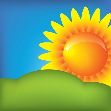 wheather forecast: Vector illustration with sun on the blue sky background