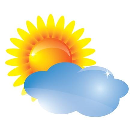 Vector zon en wolken. Weersvoorspelling icoon Stock Illustratie