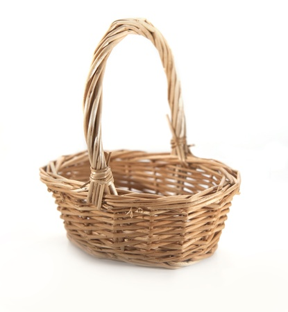empty basket: Brown wicker basket on the white background