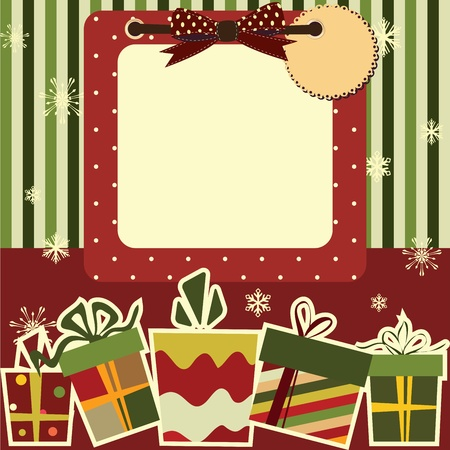 cartoon envelope: Christmas background. Empty frame with the space for your tex or picture Illustration