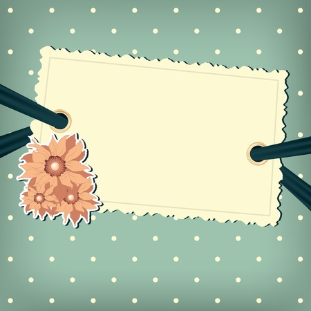 Vector greeting card with flower. Polka dots background Vector
