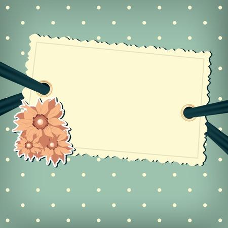 Vector wenskaart met bloem. Stippen achtergrond Stock Illustratie