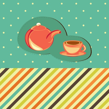 brewing: Tee card with cup and brewing teapot on the retro background with polka dots
