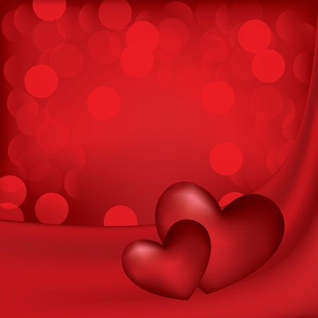 Hearts on the red silk background. Valentine card.  Vector
