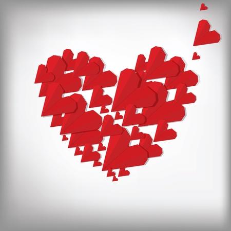 Origami hearts. Valentine card.