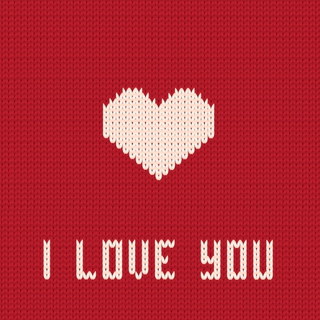 Knitted heart. Valentines day card.  Vector