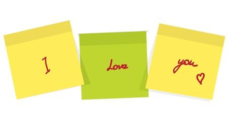 attach: Post it de recordatorio con el mensaje de amor en el fondo blanco