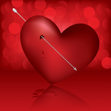 Broken Heart with arrow on the red background Vector